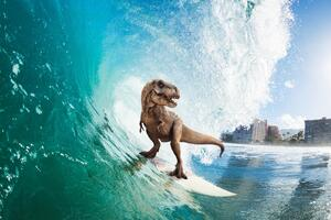 Surfing T Rex Wallpaper