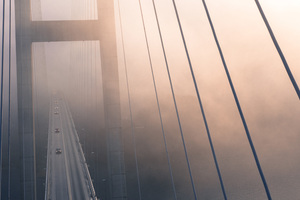 Suspension Bridge View From Top Evening Fog 4k