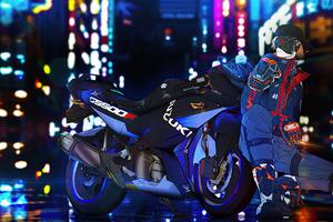 Suzuki Gs500f Bike Cyberpunk Boy Wallpaper