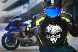 Suzuki Hayabusa Rider Wearing Punisher T Shirt Wallpaper