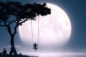 Swing Moon Girl Alone