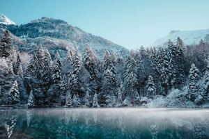Switzerland Winter Reflection 5k Wallpaper