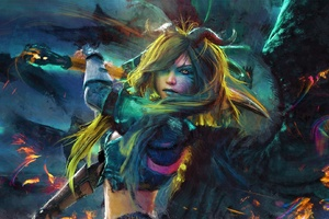 Sword Girl Art Wallpaper