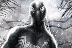 Symbiote Spider Man Monochrome 4k Wallpaper