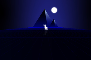 Synth Wave Pyramids And Deer 8k Wallpaper