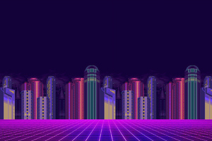 Synthwave Buildings 8 Bit Wallpaper