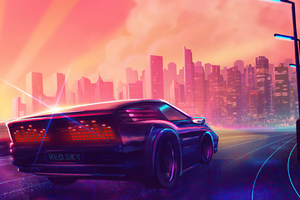 Synthwave Car Lost With You Wallpaper