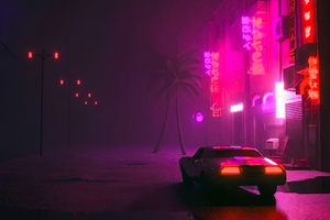 Synthwave Car On Street