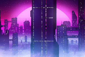 Synthwave City View 4k Wallpaper