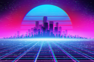 Synthwave Cityscape 4k Wallpaper