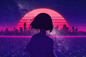 synthwave night sunset anime girl 4k 2j