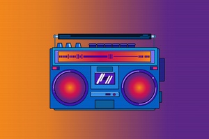 Synthwave Portable Music Stereo Wallpaper