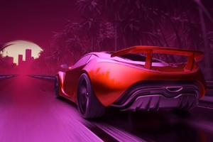 Synthwave Sport Car Artwork