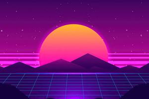 Synthwave Sun Mountains 4k