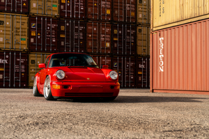 Taco Red Porsche 964 8k Wallpaper
