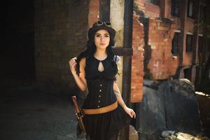 Tatto Hat Girl In Steampunk Fashion