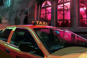Taxi Digital Art 4k Wallpaper