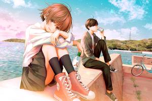 Teenage Anime Couple School Dress 4k