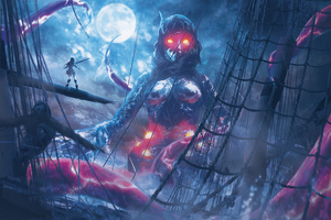 Tentacles Over The Galleon Wallpaper