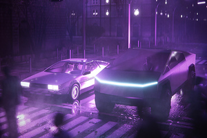 Tesla Cybertruck And Delorean Synthwave 4k Wallpaper
