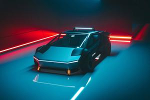 Tesla Cybertruck Front View Concept 4k Wallpaper