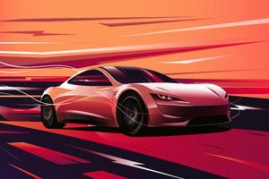 Tesla Roadster Digital Art 8k Wallpaper