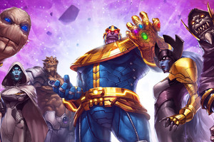 Thanos And His Team Marvel Contest Of Champions Wallpaper
