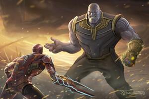 Thanos Vs Iron Man Avengers Endgame