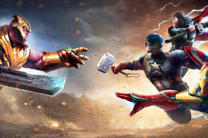 Thanos Vs Iron Man Thor Captain America Wallpaper