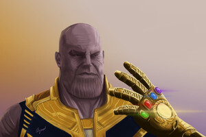 Thanos With Gauntlet Artwork