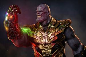 Thanos With Iron Man Gauntlet Wallpaper