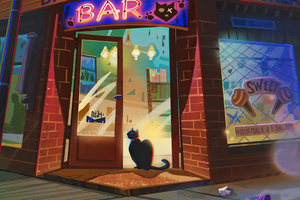The Bar At Road Corner Cat Evening Time Wallpaper