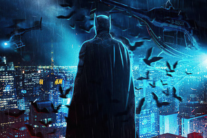 The Batman Over Gotham City 4k Wallpaper