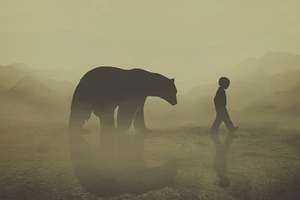 The Bear And The Kid 4k Wallpaper