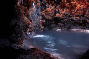 The Blue Lagoon Lake Waterfall Nature Forest Water 5k Wallpaper