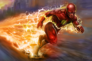 The Flash Running Artwork 5k Wallpaper