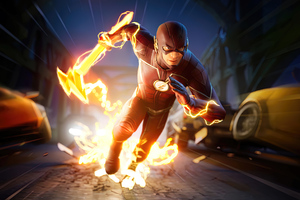 The Flash Running Lightning Speed Fortnite 4k 2021 Wallpaper
