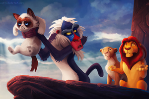The Lion King Grumpy Cat Funny Wallpaper