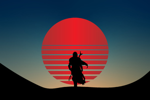 The Mandalorian Star Wars Minimal 4k Wallpaper