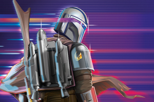 The Mandalorian Synthwave 2020 Wallpaper