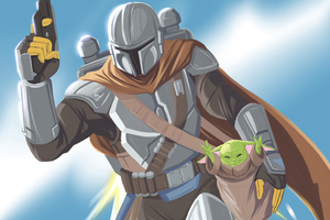 The Mandalorian Tv Series Illustration 5k