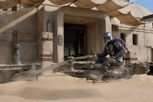 The Mandalorian With His Speeder Bike 2020 Wallpaper