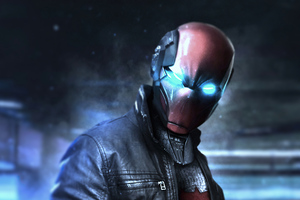The Red Hood Glowing Eyes 4k Wallpaper