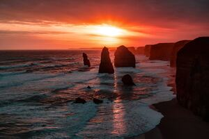 The Twelve Apostles Coastline Rock Sunset 5k Wallpaper