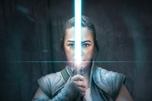 The Weapon Of A Jedi Knight Rey Cosplay Wallpaper