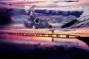 The White Dragon 4k Wallpaper