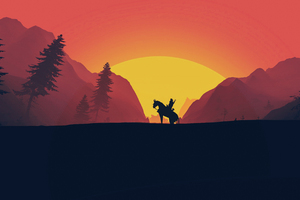 The Witcher 3 Wild Hunt Geralt Of Rivia Minimal Art Wallpaper