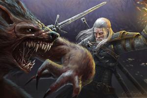 The Witcher Killing Monster 5k Artwork