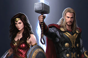 Thor And Wonder Woman Wallpaper