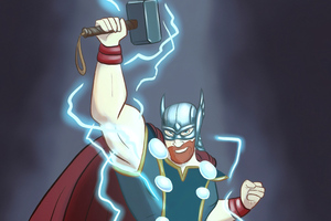 Thor Cartoony Art Wallpaper